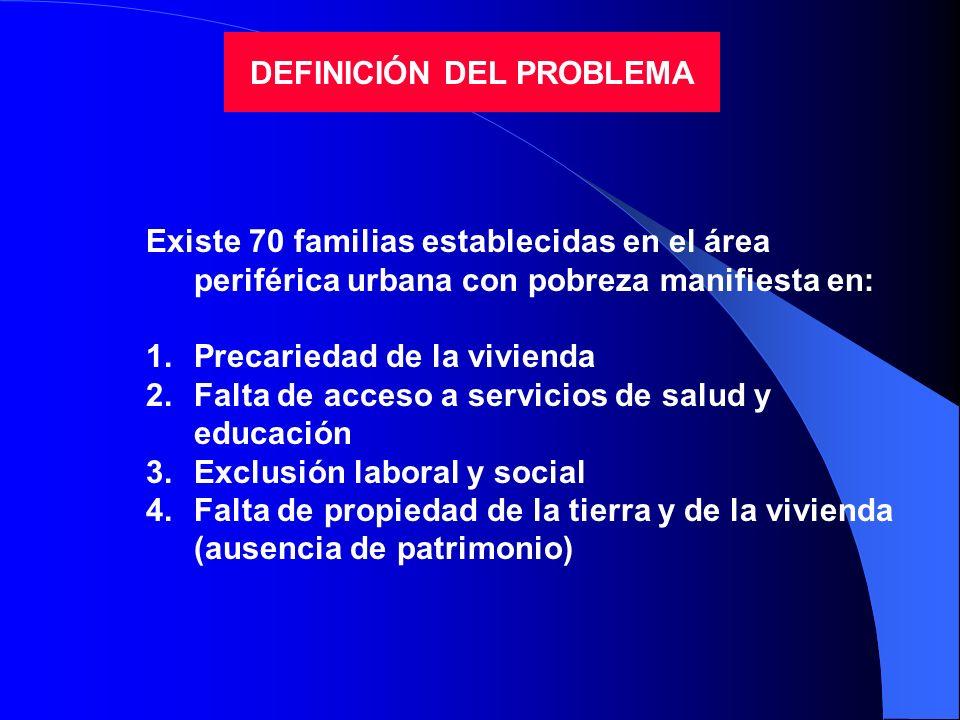 DEFINICIÓN DEL PROBLEMA Existe 70 familias establecidas en el área periférica urbana con pobreza manifiesta en: 1.Precariedad de la vivienda 2.Falta d
