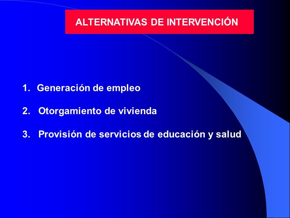 ALTERNATIVAS DE INTERVENCIÓN 1.Generación de empleo 2. Otorgamiento de vivienda 3. Provisión de servicios de educación y salud