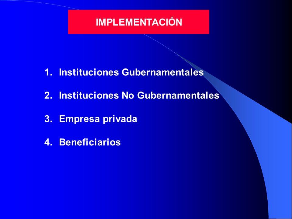 IMPLEMENTACIÓN 1.Instituciones Gubernamentales 2.Instituciones No Gubernamentales 3.Empresa privada 4.Beneficiarios