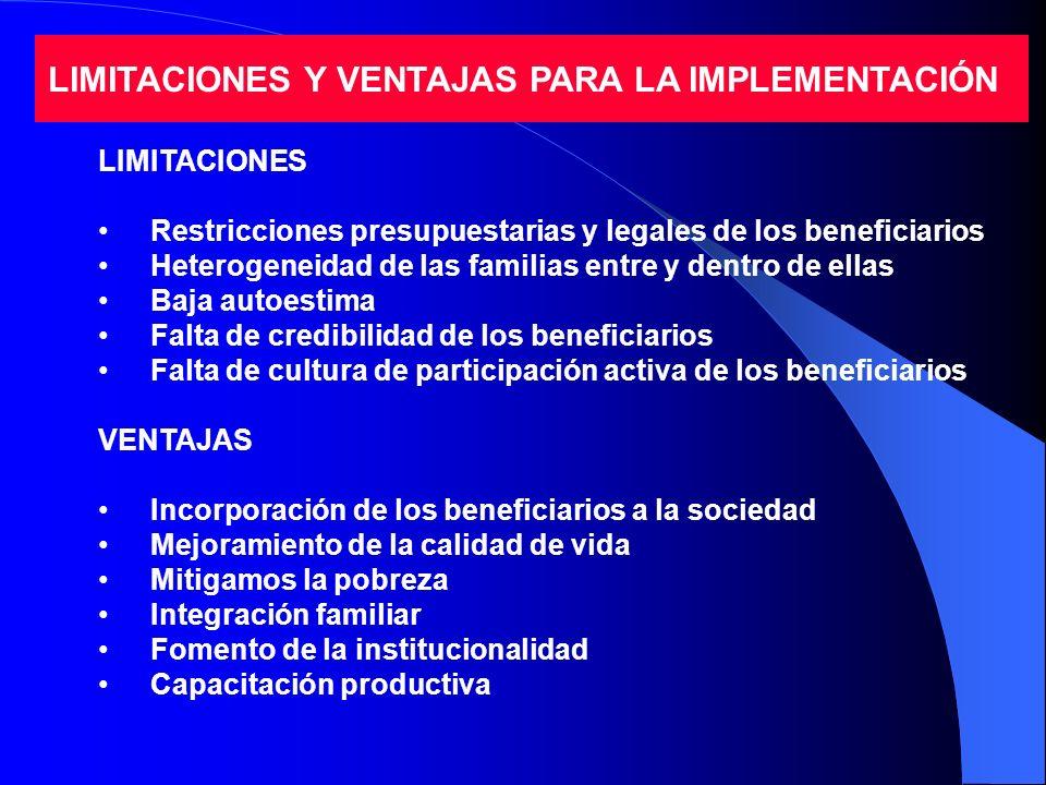LIMITACIONES Y VENTAJAS PARA LA IMPLEMENTACIÓN LIMITACIONES Restricciones presupuestarias y legales de los beneficiarios Heterogeneidad de las familia