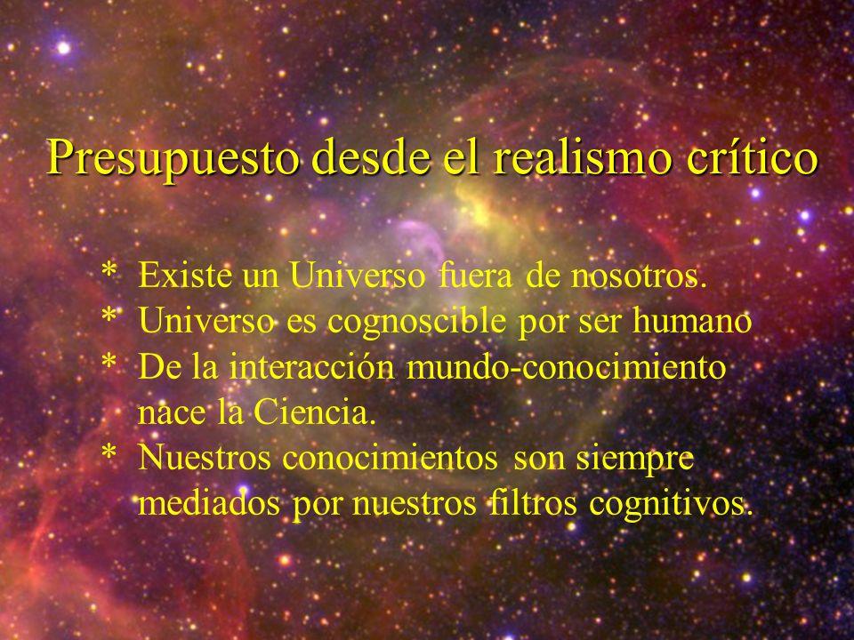 Presupuesto desde el realismo crítico * Existe un Universo fuera de nosotros. * Universo es cognoscible por ser humano * De la interacción mundo-conoc