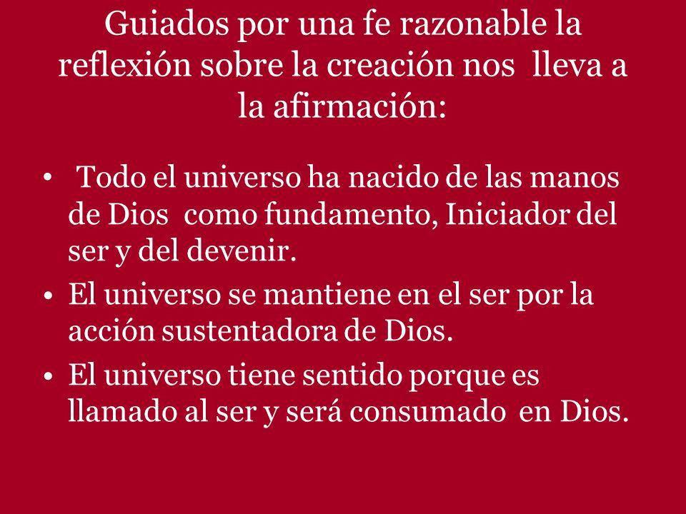 Guiados por una fe razonable la reflexión sobre la creación nos lleva a la afirmación: Todo el universo ha nacido de las manos de Dios como fundamento