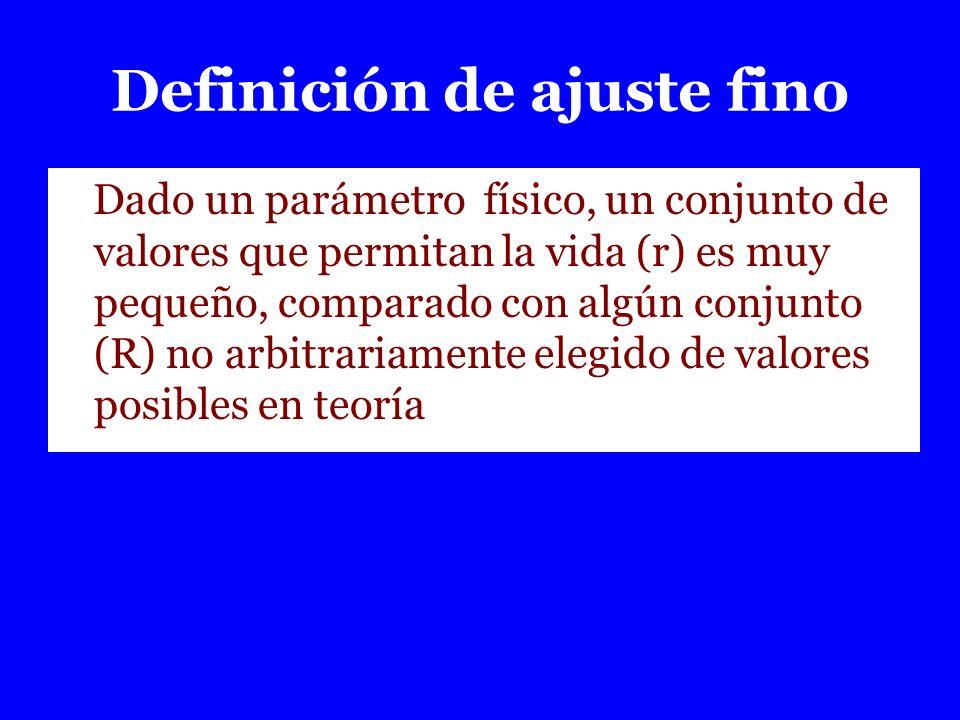 Definición de ajuste fino Dado un parámetro físico, un conjunto de valores que permitan la vida (r) es muy pequeño, comparado con algún conjunto (R) n