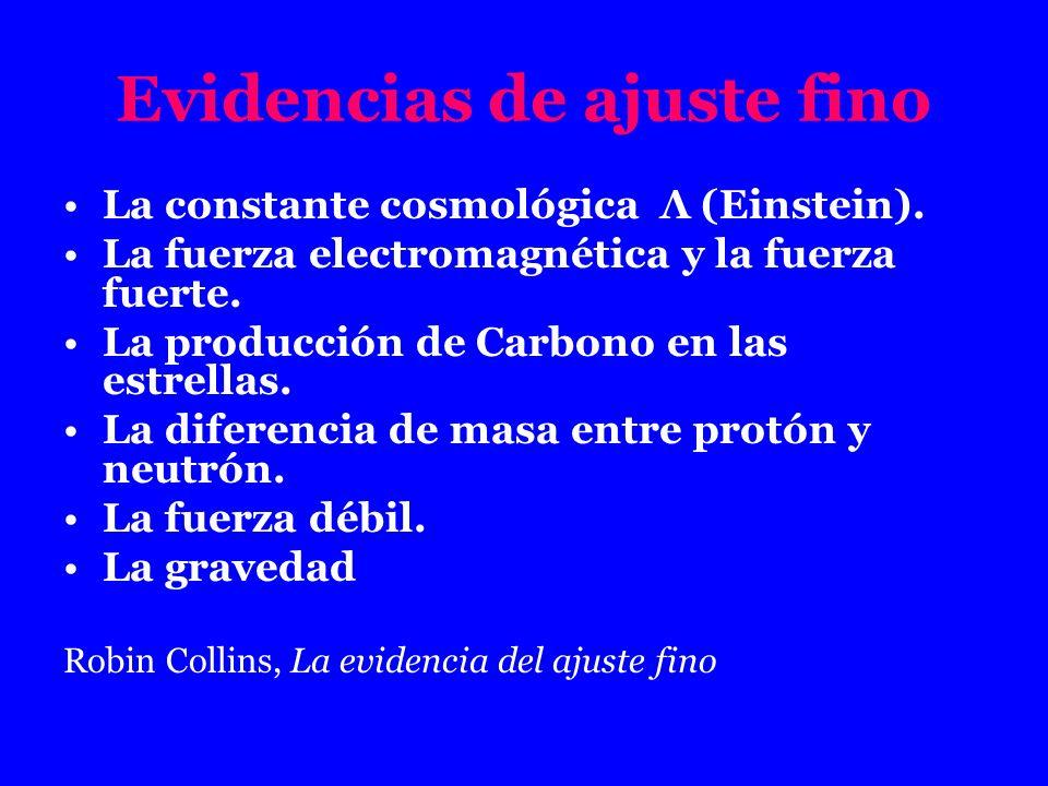 Evidencias de ajuste fino La constante cosmológica Λ (Einstein). La fuerza electromagnética y la fuerza fuerte. La producción de Carbono en las estrel