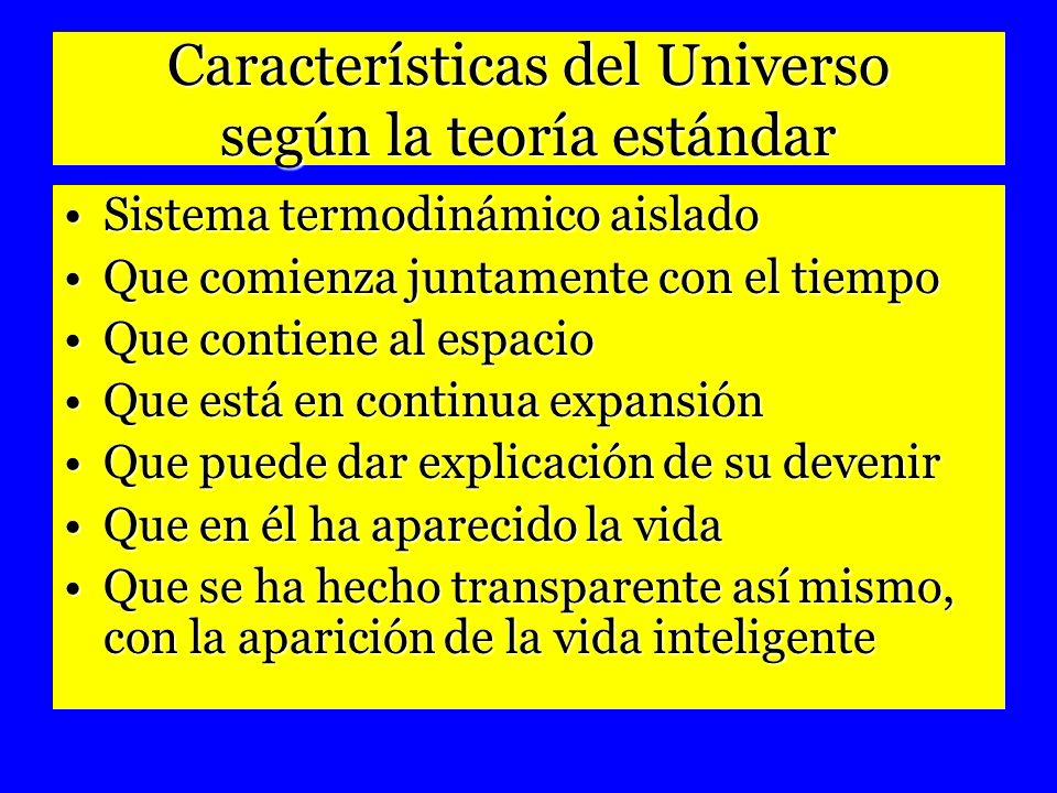 Características del Universo según la teoría estándar Sistema termodinámico aisladoSistema termodinámico aislado Que comienza juntamente con el tiempo