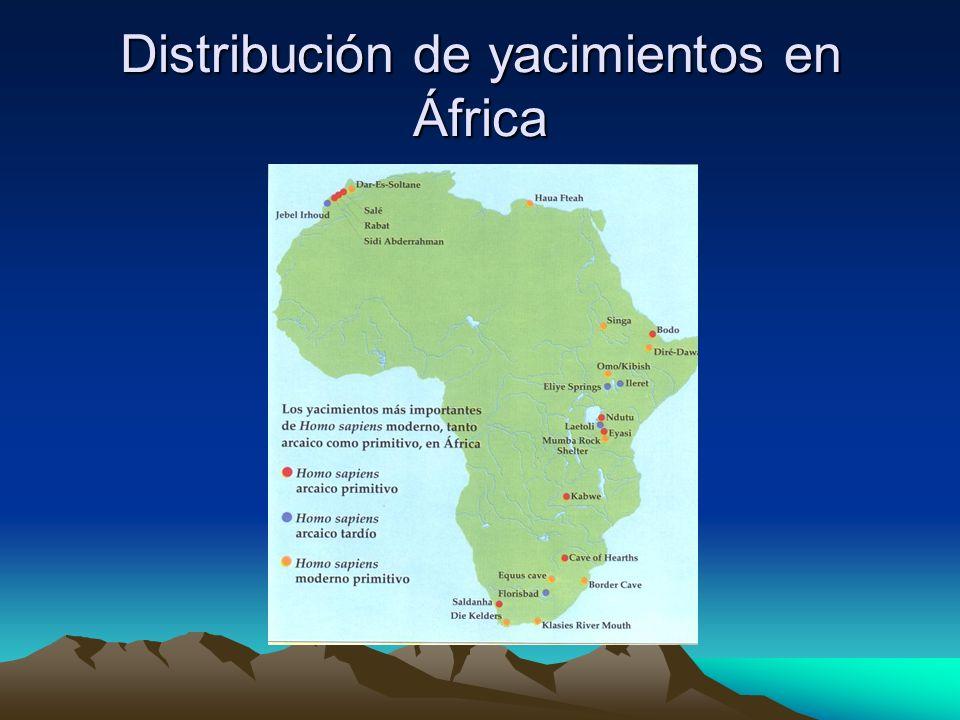 Distribución de yacimientos en África