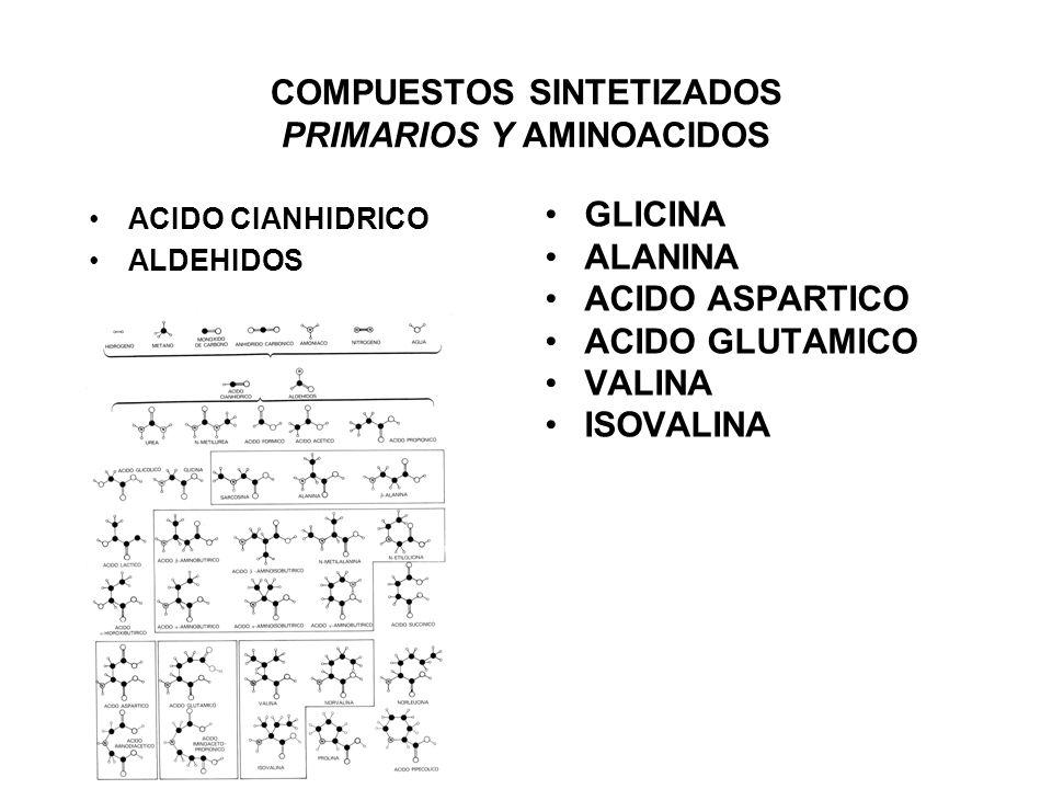 COMPUESTOS SINTETIZADOS PRIMARIOS Y AMINOACIDOS ACIDO CIANHIDRICO ALDEHIDOS GLICINA ALANINA ACIDO ASPARTICO ACIDO GLUTAMICO VALINA ISOVALINA