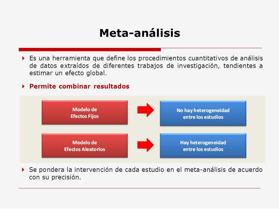 Meta-análisis Es una herramienta que define los procedimientos cuantitativos de análisis de datos extraídos de diferentes trabajos de investigación, t