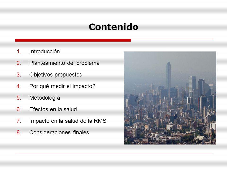 Contenido 1.Introducción 2.Planteamiento del problema 3.Objetivos propuestos 4.Por qué medir el impacto? 5.Metodología 6.Efectos en la salud 7.Impacto
