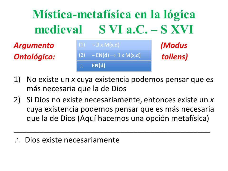 Mística-metafísica en la lógica medieval S VI a.C. – S XVI Argumento (Modus Ontológico: tollens) 1)No existe un x cuya existencia podemos pensar que e