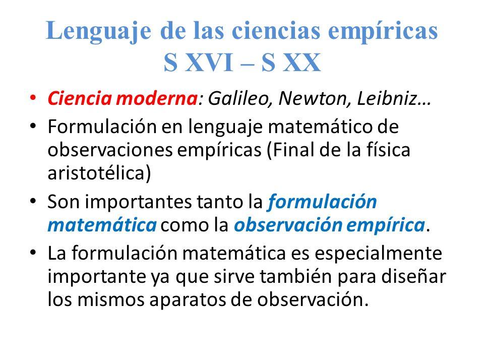 Lenguaje de las ciencias empíricas S XVI – S XX Ciencia moderna: Galileo, Newton, Leibniz… Formulación en lenguaje matemático de observaciones empíric