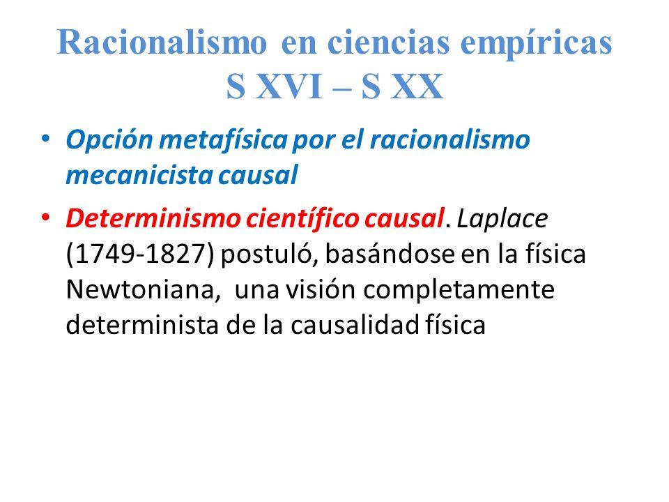Racionalismo en ciencias empíricas S XVI – S XX Opción metafísica por el racionalismo mecanicista causal Determinismo científico causal. Laplace (1749