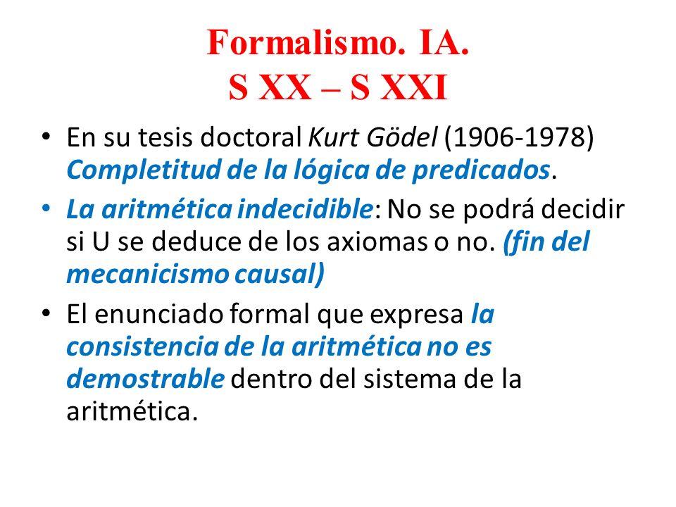 Formalismo. IA. S XX – S XXI En su tesis doctoral Kurt Gödel (1906-1978) Completitud de la lógica de predicados. La aritmética indecidible: No se podr