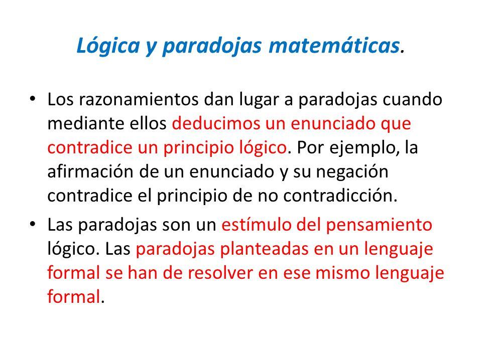 Lógica y paradojas matemáticas. Los razonamientos dan lugar a paradojas cuando mediante ellos deducimos un enunciado que contradice un principio lógic
