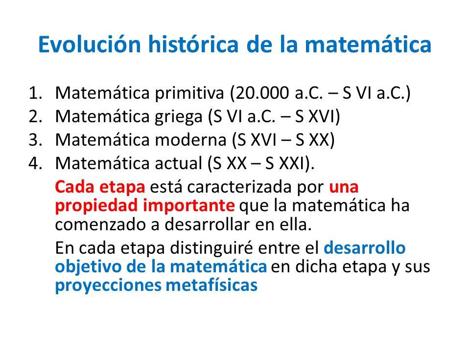 Evolución histórica de la matemática 1.Matemática primitiva (20.000 a.C. – S VI a.C.) 2.Matemática griega (S VI a.C. – S XVI) 3.Matemática moderna (S