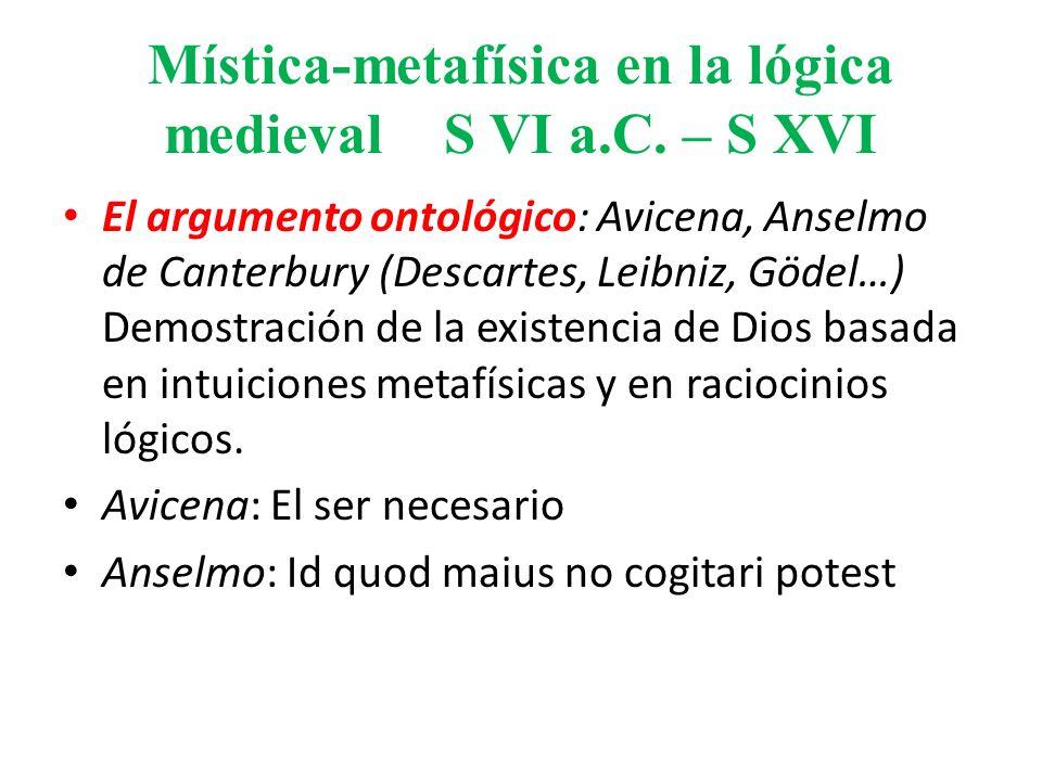 Mística-metafísica en la lógica medieval S VI a.C. – S XVI El argumento ontológico: Avicena, Anselmo de Canterbury (Descartes, Leibniz, Gödel…) Demost