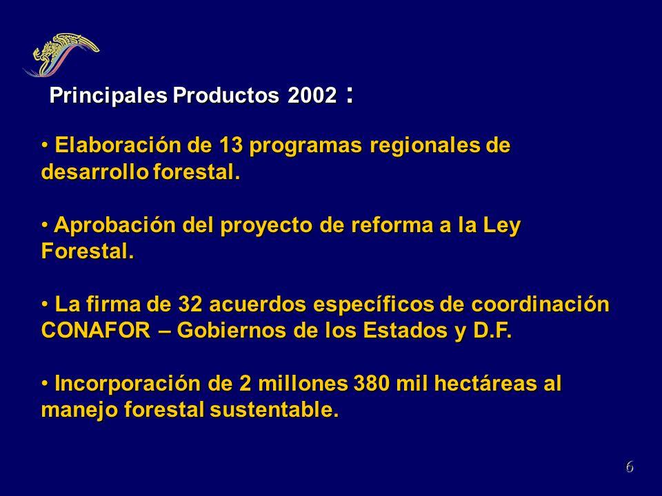 Principales Productos 2002 : Principales Productos 2002 : Elaboración de 13 programas regionales de desarrollo forestal. Elaboración de 13 programas r