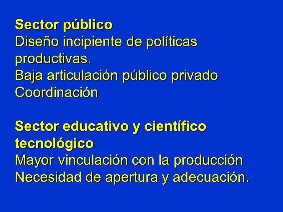 Sector público Diseño incipiente de políticas productivas.
