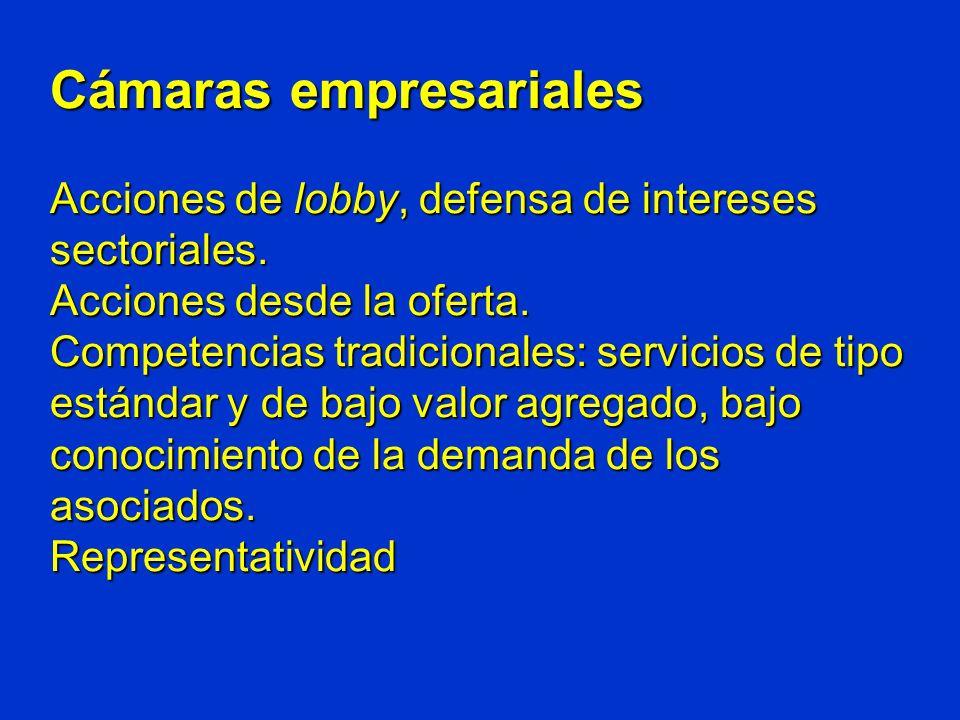 Cámaras empresariales Acciones de lobby, defensa de intereses sectoriales.