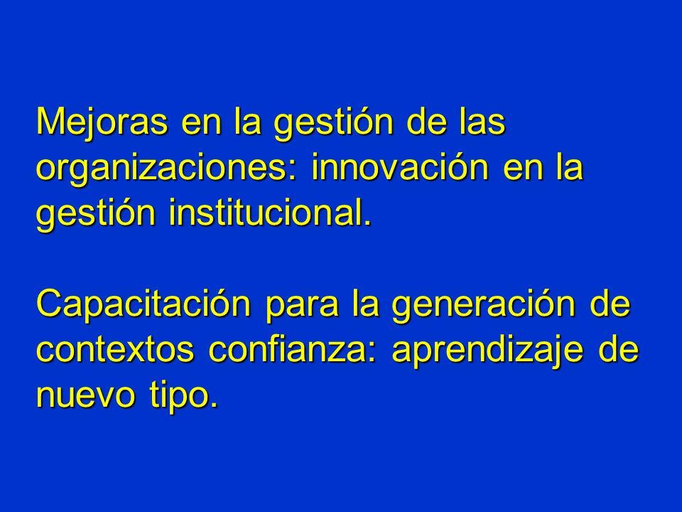 Mejoras en la gestión de las organizaciones: innovación en la gestión institucional.