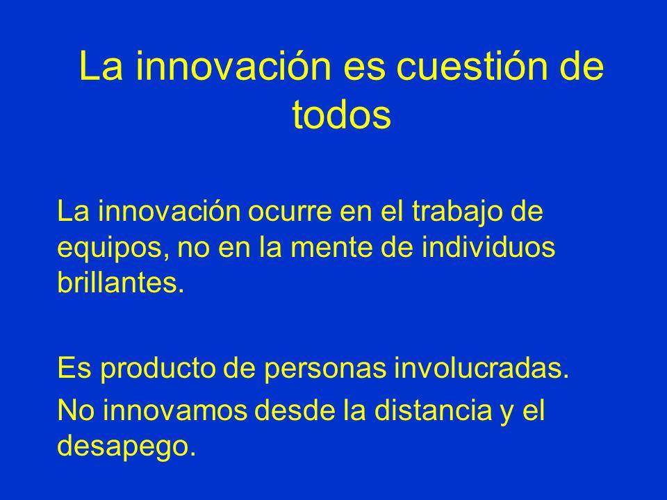 La innovación es cuestión de todos La innovación ocurre en el trabajo de equipos, no en la mente de individuos brillantes.