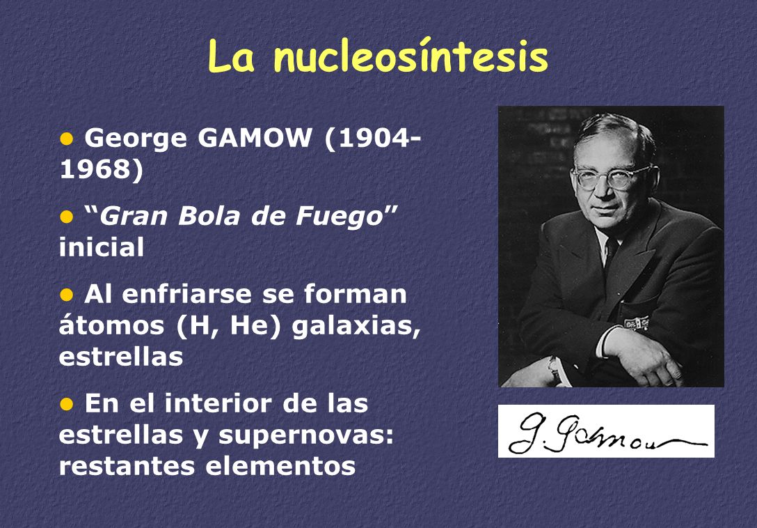 1927 demostró que las ecuaciones de Einstein, implican que el Universo está en expansión. 1932 dio una conferencia a la que asistió Einstein: Es ésta
