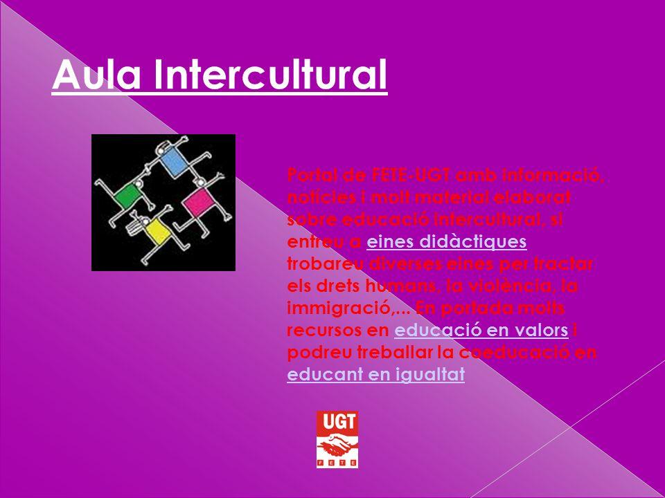 Aula Intercultural Portal de FETE-UGT amb informació, notícies i molt material elaborat sobre educació intercultural, si entreu a eines didàctiques trobareu diverses eines per tractar els drets humans, la violència, la immigració,...