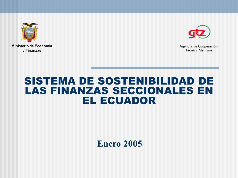 SISTEMA DE SOSTENIBILIDAD DE LAS FINANZAS SECCIONALES EN EL ECUADOR Enero 2005 Agencia de Cooperación Técnica Alemana Ministerio de Economía y Finanza