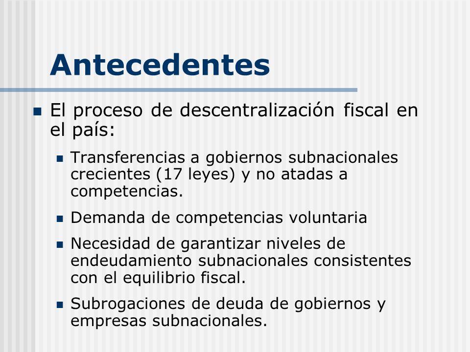 Antecedentes El proceso de descentralización fiscal en el país: Transferencias a gobiernos subnacionales crecientes (17 leyes) y no atadas a competenc
