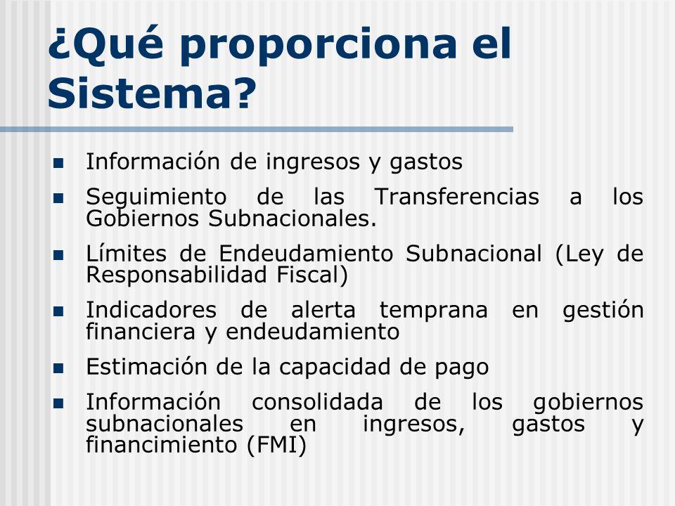 ¿Qué proporciona el Sistema? Información de ingresos y gastos Seguimiento de las Transferencias a los Gobiernos Subnacionales. Límites de Endeudamient