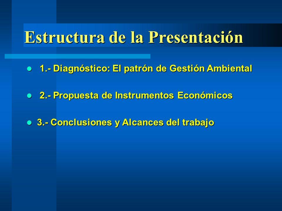 1.- Diagnóstico: El patrón de Gestión Ambiental 1.- Diagnóstico: El patrón de Gestión Ambiental 2.- Propuesta de Instrumentos Económicos 2.- Propuesta