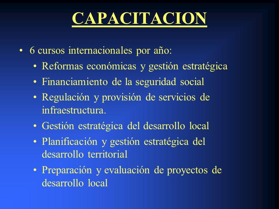 CAPACITACION 6 cursos internacionales por año: Reformas económicas y gestión estratégica Financiamiento de la seguridad social Regulación y provisión de servicios de infraestructura.