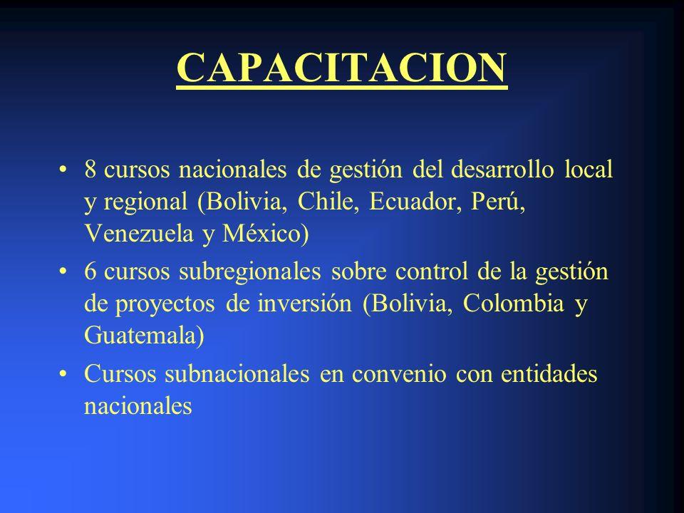 CAPACITACION 8 cursos nacionales de gestión del desarrollo local y regional (Bolivia, Chile, Ecuador, Perú, Venezuela y México) 6 cursos subregionales