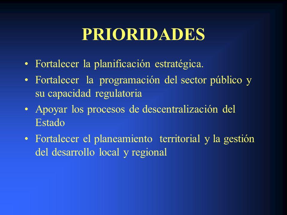 PRIORIDADES Fortalecer la planificación estratégica. Fortalecer la programación del sector público y su capacidad regulatoria Apoyar los procesos de d