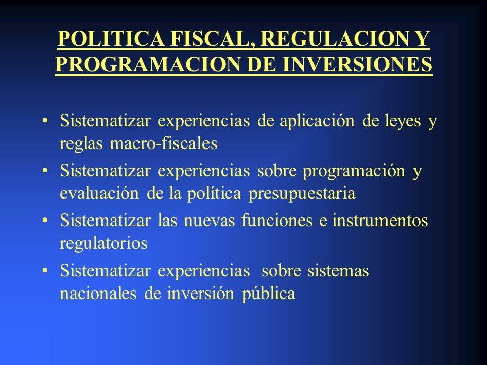 POLITICA FISCAL, REGULACION Y PROGRAMACION DE INVERSIONES Sistematizar experiencias de aplicación de leyes y reglas macro-fiscales Sistematizar experi