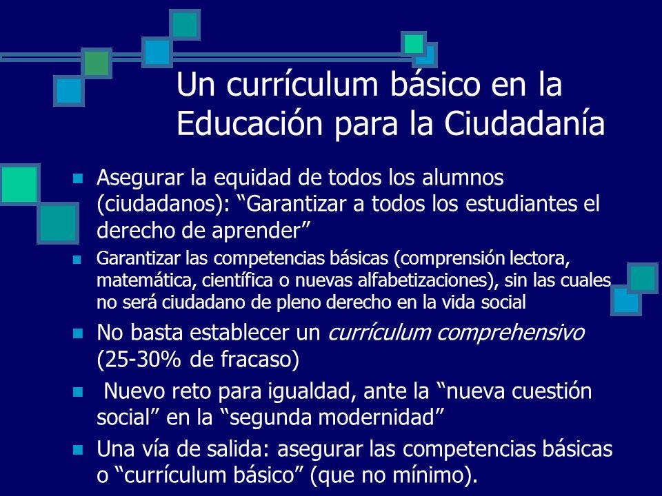 Un currículum básico en la Educación para la Ciudadanía Asegurar la equidad de todos los alumnos (ciudadanos): Garantizar a todos los estudiantes el d