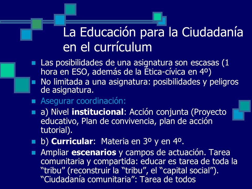 La Educación para la Ciudadanía en el currículum Las posibilidades de una asignatura son escasas (1 hora en ESO, además de la Ética-cívica en 4º) No l