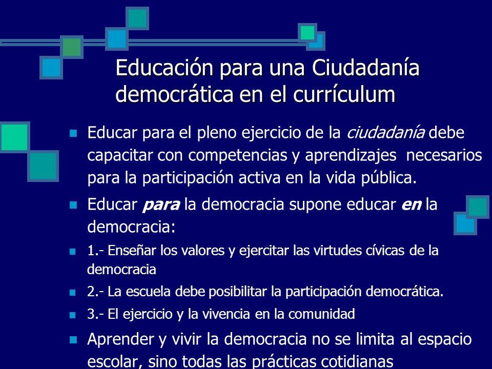 Educación para una Ciudadanía democrática en el currículum Educar para el pleno ejercicio de la ciudadanía debe capacitar con competencias y aprendiza