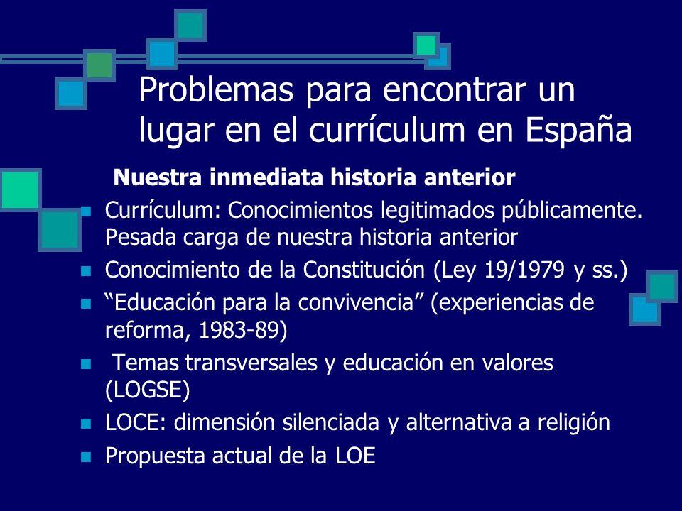Problemas para encontrar un lugar en el currículum en España Nuestra inmediata historia anterior Currículum: Conocimientos legitimados públicamente. P