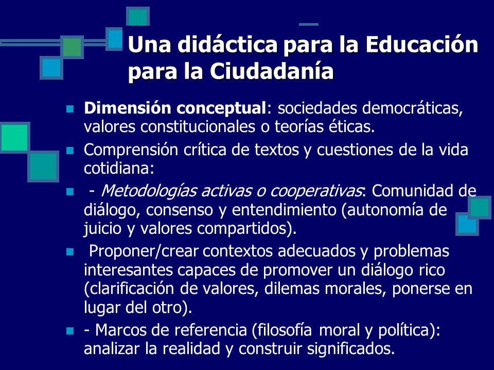 Una didáctica para la Educación para la Ciudadanía Dimensión conceptual: sociedades democráticas, valores constitucionales o teorías éticas. Comprensi