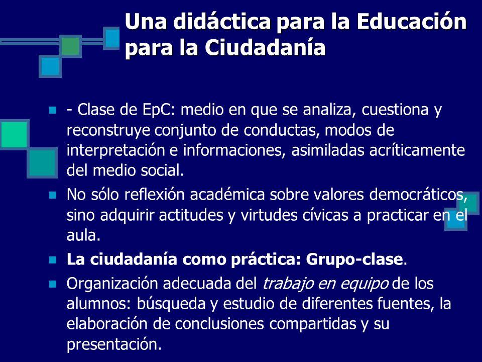 Una didáctica para la Educación para la Ciudadanía - Clase de EpC: medio en que se analiza, cuestiona y reconstruye conjunto de conductas, modos de in