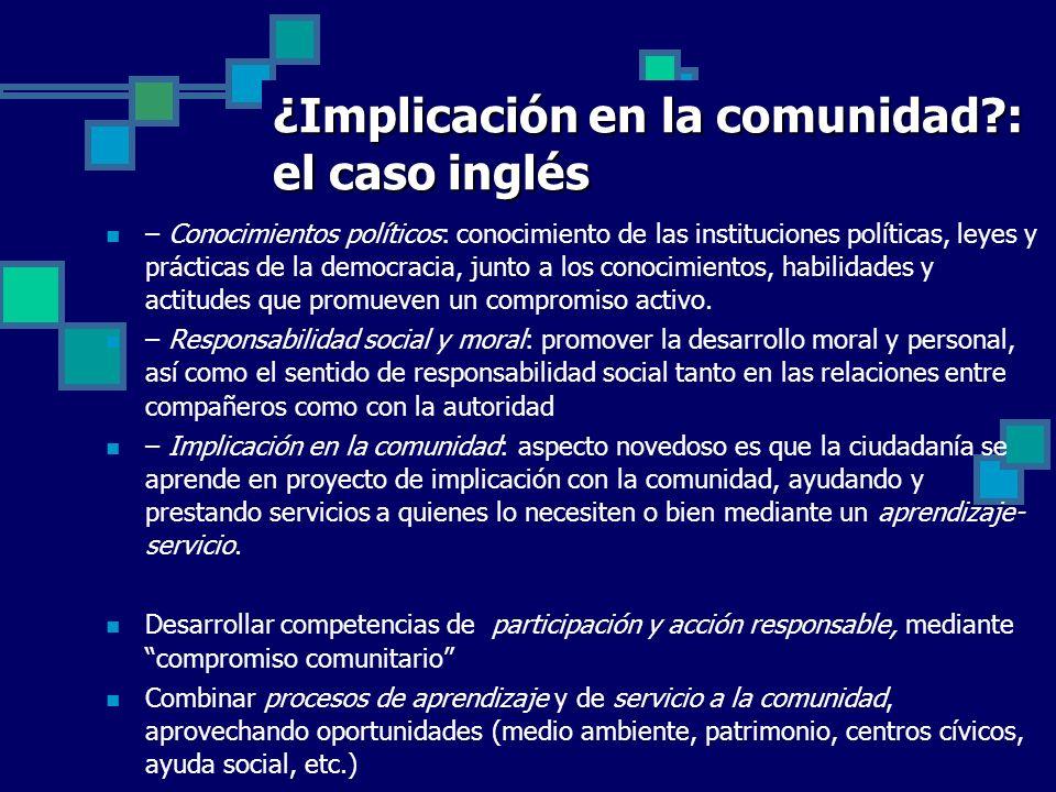 ¿Implicación en la comunidad?: el caso inglés – Conocimientos políticos: conocimiento de las instituciones políticas, leyes y prácticas de la democrac