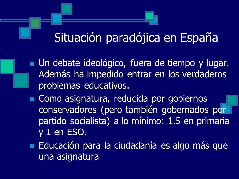 Situación paradójica en España Un debate ideológico, fuera de tiempo y lugar. Además ha impedido entrar en los verdaderos problemas educativos. Como a