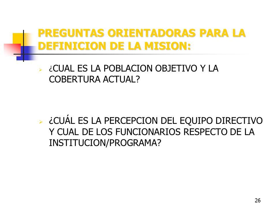 25 PREGUNTAS ORIENTADORAS PARA LA DEFINICION DE LA MISION: ¿ PARA QUÉ EXISTE LA INSTITUCION/PROGRAMA? ¿CUÁLES SON LOS PRINCIPALES PRODUCTOS QUE GENERA