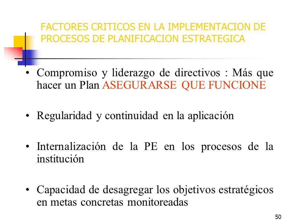 49 LECCIONES APRENDIDAS CONSIDERACIONES PARA LA APLICACIÓN DE LA PLANIFICACION ESTRATEGICA EN INSTITUCIONES PUBLICAS COMO UTILIZAR EL PLAN ESTRATEGICO