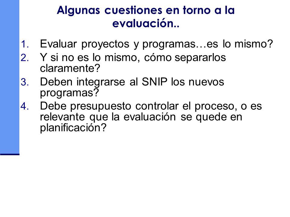 Algunas cuestiones en torno a la evaluación.. 1. Evaluar proyectos y programas…es lo mismo? 2. Y si no es lo mismo, cómo separarlos claramente? 3. Deb