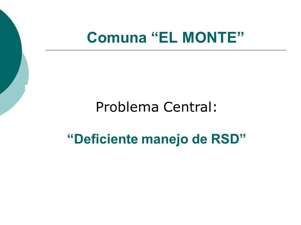 Comuna EL MONTE Problema Central: Deficiente manejo de RSD
