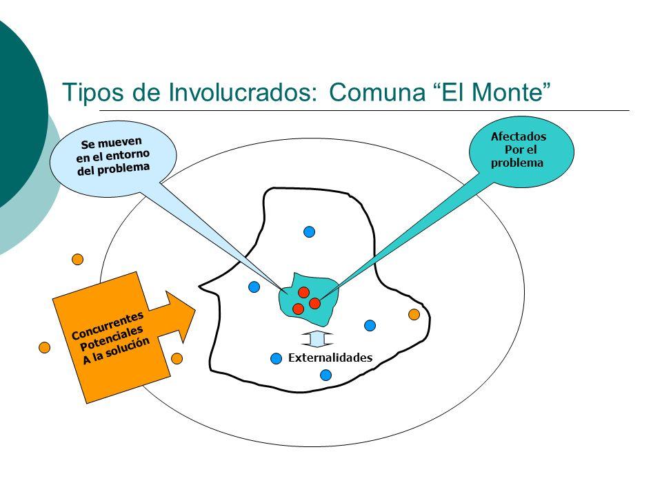 Tipos de Involucrados: Comuna El Monte Afectados Por el problema Se mueven en el entorno del problema Externalidades Concurrentes Potenciales A la sol