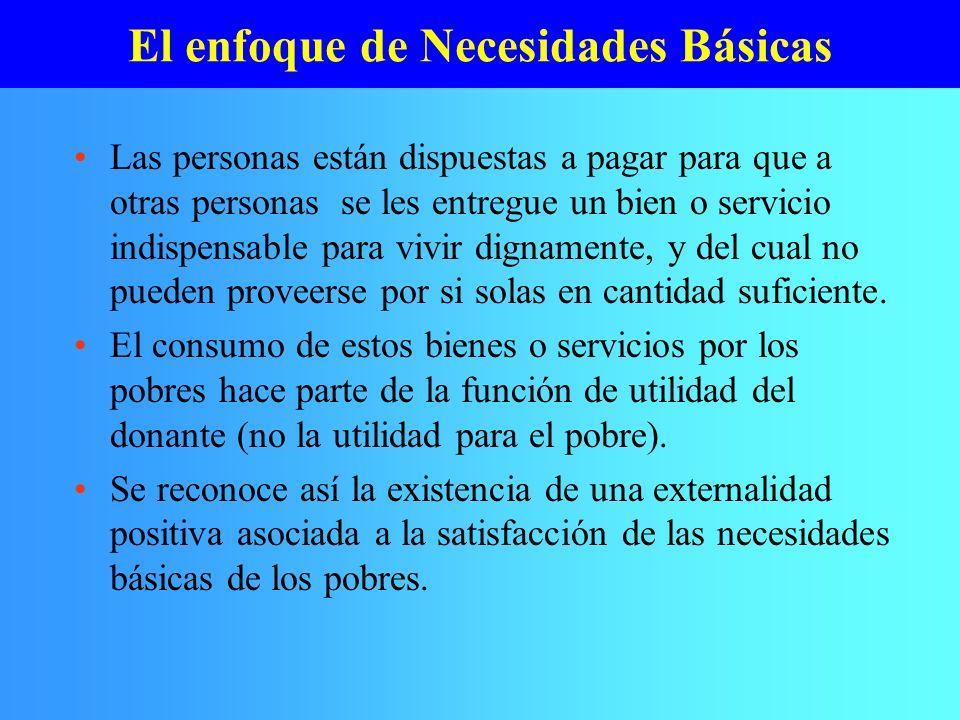 El enfoque de Necesidades Básicas Las personas están dispuestas a pagar para que a otras personas se les entregue un bien o servicio indispensable par