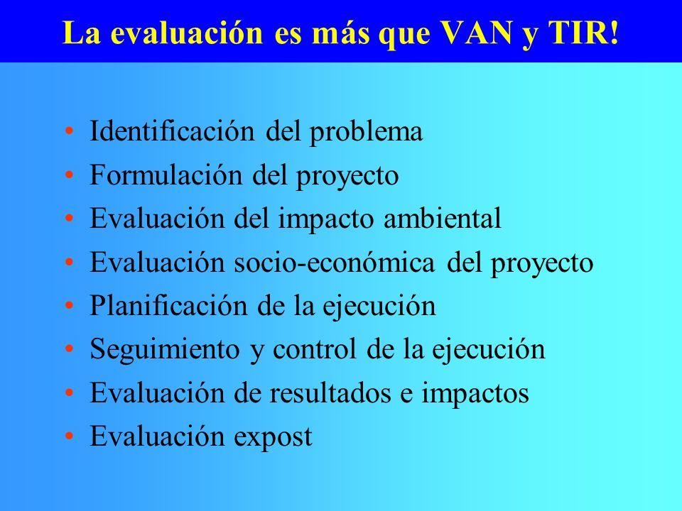 La evaluación es más que VAN y TIR! Identificación del problema Formulación del proyecto Evaluación del impacto ambiental Evaluación socio-económica d